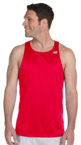 New Balance Herren Tempo Running Singlet S Cherry Red with Stripe