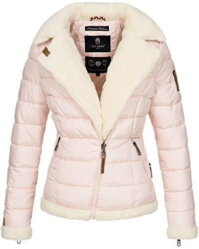 Navahoo Damen Designer Winter Jacke warme Winterjacke Steppjacke Teddyfell B652 [B652-Smooth-Rosa-Gr.L]