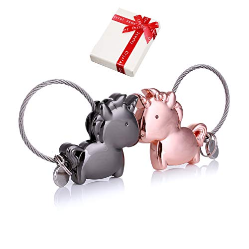 lanhänger Paar Liebe,1 Paar Magnet Klein Schlüsselbund mit magnetischem Mund,Edelstahl Drahtseil Deko Schlüsselband für Pärchen Geschenke Liebhaber Freundin (GunSchwarz Rosegold) ()
