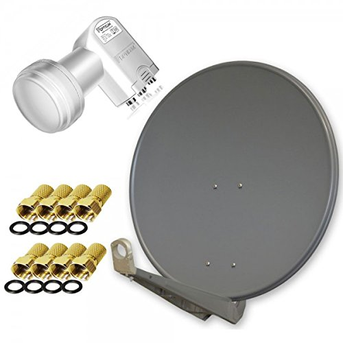 Antenne PremiumX DELUXE85 Aluminium 85cm, Digital SAT Schüssel Spiegel in Anthrazit für HDTV HD+ 3D 4K Ultra + LNB Quad 0,1 dB Opticum LQP-04H FullHD HDTV 3D tauglich Quattro Switch + 8x F-Stecker in Farbe 'GOLD'!