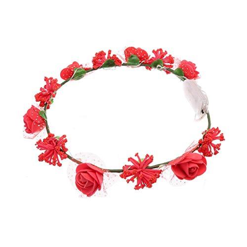 BOLAWOO-77 Blume Krone Kranz Stirnband Floral Girlande Festival Damen Hochzeit Valentinstag Geschenk Led Licht Design (Color : Rot, Size : One Size)
