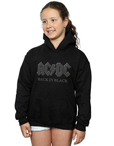 Girls Dc Hoodie (AC/DC Mädchen Back In Black Kapuzenpullover 12-13 years Schwarz)