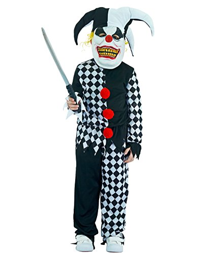 Böser Kostüm Clown Kind - Sea Hare Kinder bösen Scary Clown Halloween-Kostüm (L :10-12 Jahre)