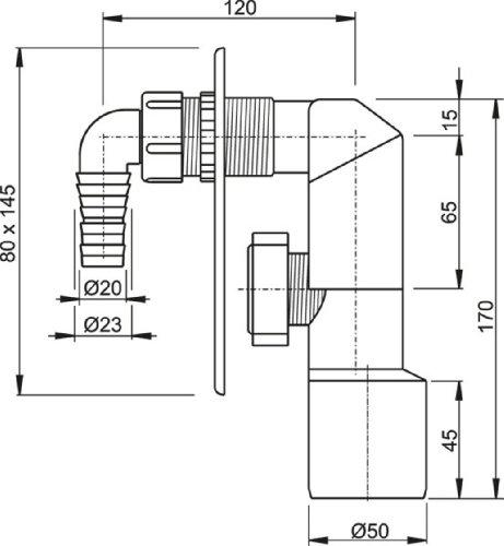 Hochwertiges Unterputzsiphon- APS 3-Unterputz-Siphon für Waschmaschine-Waschmaschienensiphon-Waschmaschienenschlauchanschluß-Farbe: chrom-Aquapont