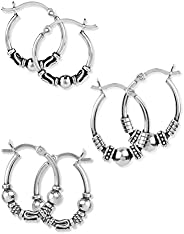 LeCalla Sterling Silver Jewelry Hoop-Earrings