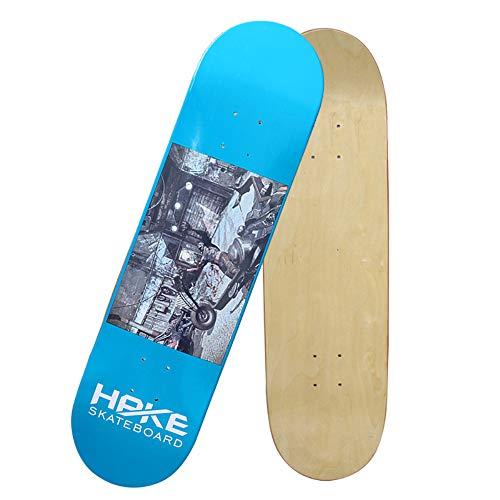 ZYSMC Quattro Ruote Professionali Double-Up Skateboard Bordo Superficie, Sette Strati Puro più Acero Stampato A Freddo Adulto Bordo Leggero Skateboard Superficie Unilaterale,Blue