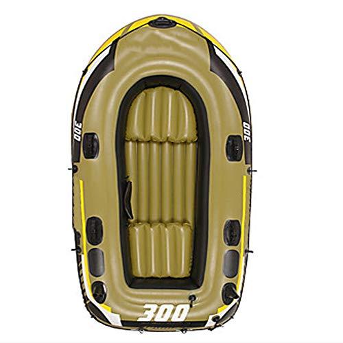 ZOUBIAG Schlauchboot-Satz-Handluftpumpen-Paddel PVC-tragbares Faltendes Fischen-Rudern (Color : Brass, Size : 3-Person Boat)