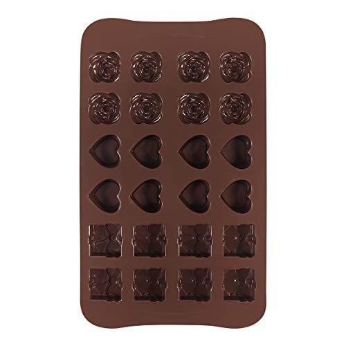 OUNONA 24 Hohlraum Silikon Pralinenformen, Schokoladeformen, Silikonformen, Eis Formen, Seifenformen, Silikon-Backen Formen--Herz, Blume,Geschenken Formen
