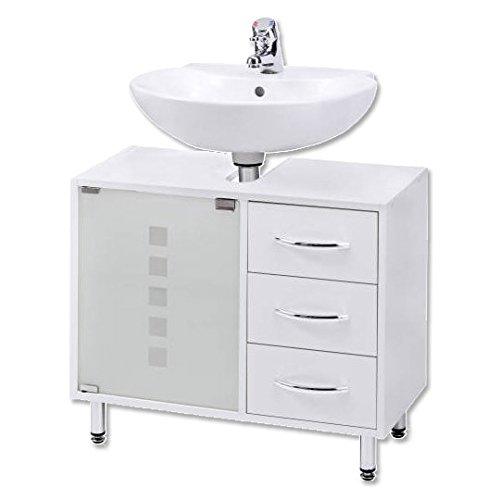 Waschbeckenunterschrank | Waschtischunterschrank | Badschrank | Bad Möbel | Holz | stehend | mit Schubladen | mit Füßen | Madison | weiß