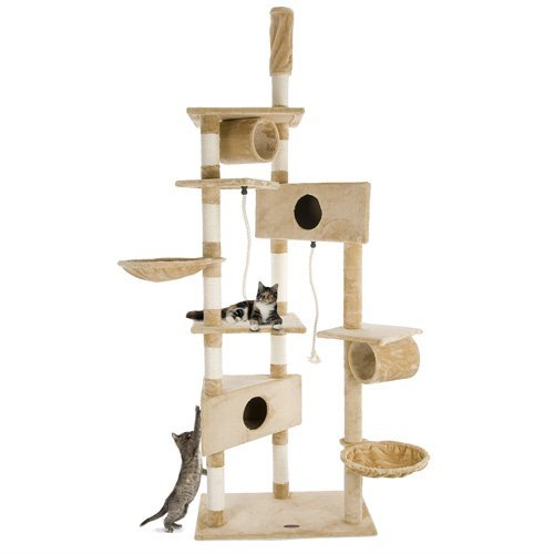 Produktabbildung von Happypet Katzen Kratzbaum Kletterbaum Kratzmöbel Natursisal Mittelhoch 230-260cm Beige