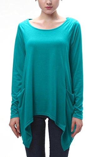 Urban GoCo Donna Casual Maglietta con Manica Lunga Tops Tunica T-Shirt con Tasche Plus Size Blu pavone