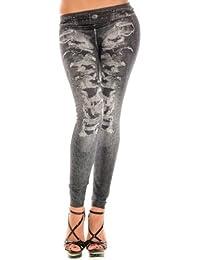Stretch-Leggings Damen Jeans Look Legging Hose Leggings Leggins Treggings Jeggings Damen Leggings mit Destroyed Look Jeans Print