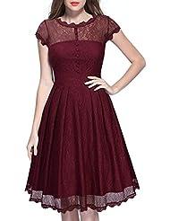 Gaoxu Código de vestir y poner en Europa Hollow falda encaje vestido de cabestro cintura Ladies T - shirt,Pink purple,L
