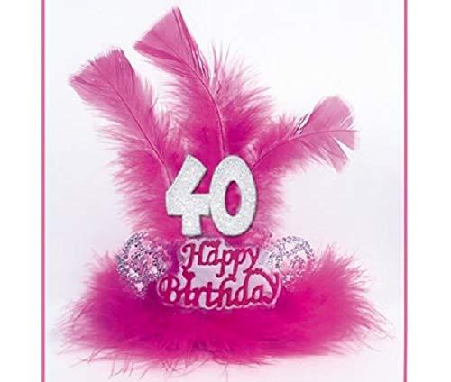 Tiara Marabú plumas 40 años - Accesorios fiesta