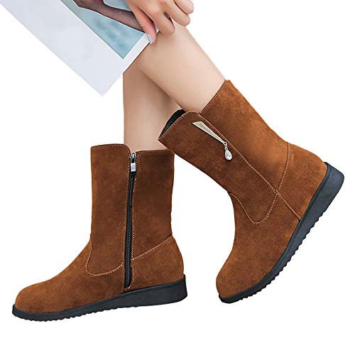 (MYMYG Frauen Chelsea Boots Flache Rhinestone Booties Middle Tube Wildleder Stiefel Schuhe Reißverschluss Boot Retro PU Leder Booties Blockabsatz)