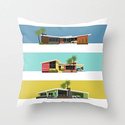 Mid Century Modern Bench (Poppylife Mid Century Modern Houses Decorative Cushion CovePillowcase 18