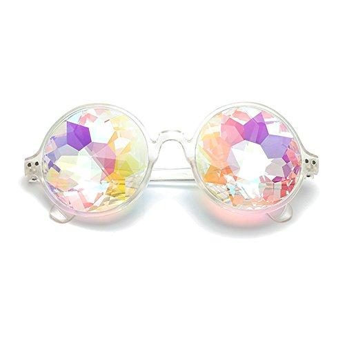 Decha Sonnenbrillen Runde Spiegel Rave Regenbogen Kaleidoskop Festival Party für Damen und Herren