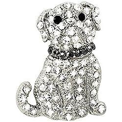 Penny el perro carlino claro cristal de Swarovski perro Pin broche