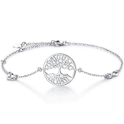 Boniris 925 Sterling Silber Baum des Lebens Armband Damen Handmade Armband Armkette Einstellbar für Weihnachten, Erntedankfest, Muttertag, Geburtstag und Graduation (Des Lebens-armbänder Baum)