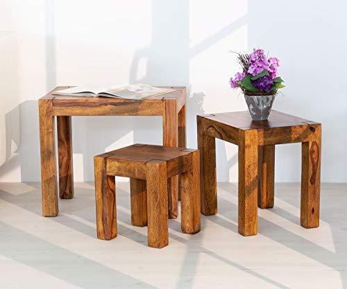 AISER Interieur massives Echt-Holz Palisander Beistell-Tisch-Set -Salerno- 50 x 35 cm aus besonders schön gezeichnetem Sheesham-Holz in modernem einzigartigen Design
