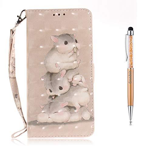 Grandoin Galaxy S9 Hülle, Handyhülle im Brieftasche-Stil für Samsung Galaxy S9 Handytasche PU Leder Flip Cover 3D Bunte Muster Book Case Schutzhülle (Eichhörnchen) - Brieftasche Mehrzweck