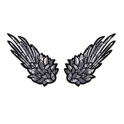 Aufnäher Patch Sticker Bügeln Stickerei Pailletten Applikation Engel Flügel Muster für T-Shirt Jeans Kleidung DIY Kleidung Patches Aufkleber Silber A One Size ()