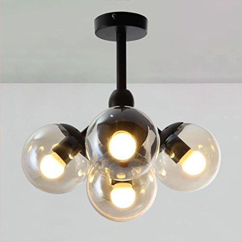 Modern Deckenlampe Weinlese-runde Ball-industrielle LOFT-Eisen-hängende Lampen-Zelle Mordern Droplight mit Glasrunder Ball-klassischen LED-Pendelleuchte Balkon Schlafzimmer ( ausgabe : LED light source )