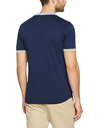 Tom Tailor Crewneck Tee with Frontartwork, T-Shirt Uomo Blu (Black Iris Blue)