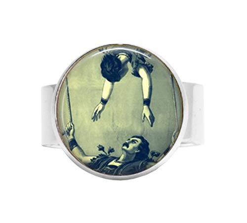 hänger Fliegender Trapezmond, Zirkusschmuck, Acrobats-Gymnast, ohne Netz, viktorianischer Zirkus, Vintage-Akrobat-Kirkus-Act, Verstellbarer Ring ()