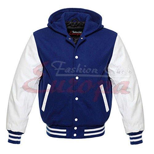 Echt Leder Herren Sweatshirt Varsity Ärmel/Wolle Letterman Jacke W/Kapuze blau & weiß Regular)