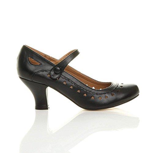 Damen Herzmuster Mary Jane Mittlerer Absatz Feinmachen Pumps Schuhe Größe 38 5 - 2
