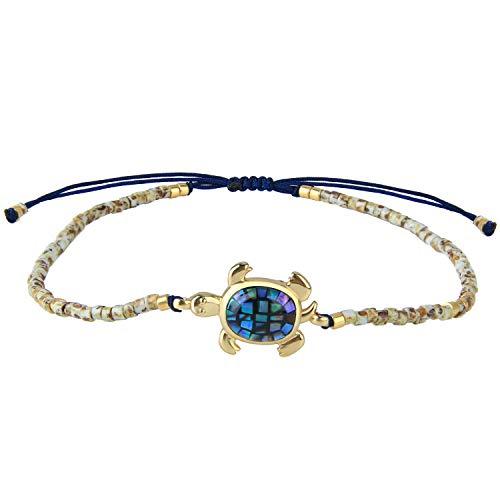 KELITCH Frau Armbänder Zum Mädchen Exquisit Opal Abalone Schildkröte Japanisch Import Perle Einstellbar Handgefertigt Geflochten Seil Armreif Charme Armband Freundschaft Geschenk - Beige L