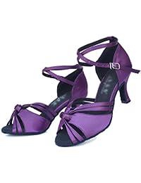 WYMNAME Mujeres Zapatos De Baile Latino,Fondo Blando Tacones Mediados Sandalias De Interior Zapatos De Baile De...