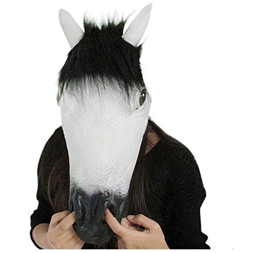 ske Halloween Cosplay Latex Pferdmaske Realistisches Tiermaske Masken Pferd Totenkopf Maske Adult Kostüm Zubehör Weihnachten Party Dekoration - Weiss (Einfach Zu Hause Machen Halloween-kostüme)