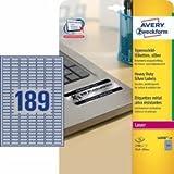 Avery L6008-20 - Heavy Duty Label 25.4x10mm Slvr L6008-20 (3780 Labels)
