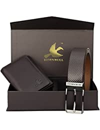 Hornbull Men's Brown Wallet and Brown Belt Combo BW69100