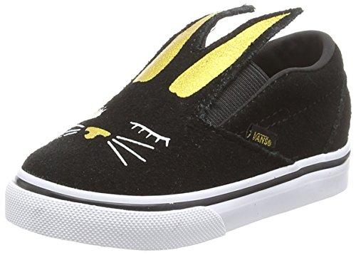 p-on Bunny Sneaker, Schwarz (Black/Gold Zx1), 24 EU (Kinder Bunny Schuhe)