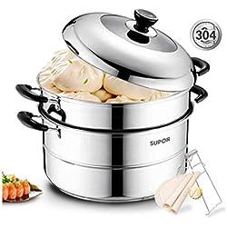 SFFSMD Cuiseur à vapeur en acier inoxydable 304 Double fond de grande capacité à deux couches Cuiseur à vapeur 32cm Double à la vapeur Pot de poisson cuisinière à induction Universel