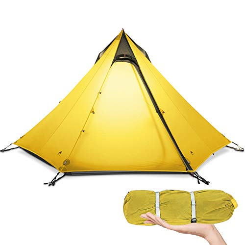 KIKILIVE Tenda Ultraleggera 3 Stagioni Tenda da Campeggio per 2-3 Persone Campeggio Esterno, Tenda a Piramide Backpacking Impermeabile, Tenda a Tenda Quick Setup, Kayak, Arrampicata, Escursionismo