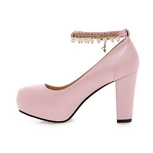 Rein Weiches Material Damen Hoher Pumps Schnalle Schuhe Agoolar Rund Absatz Zehe Pink 8ASUWwZqw