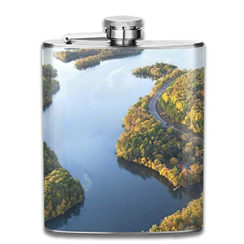 small Flask Stainless Steel Flasks 7 Oz Aerial-View-of-Curving-Road-and-Mississippi-River Whiskey Flask Hip Flask Leak Proof Wine Men Women Road Womens Cap