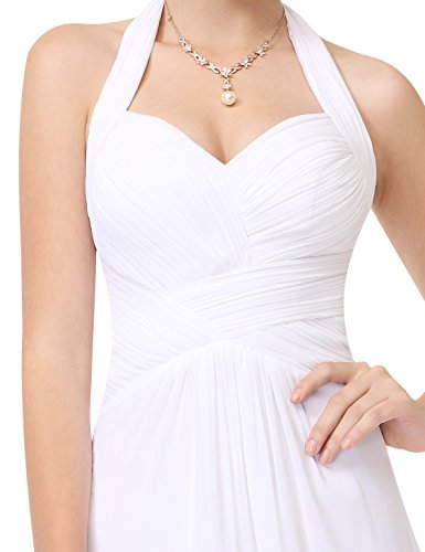Ever Pretty Damen Elegant Rueschen Neckholder Lang Maxi Party Abendkleid 08487 Weiß