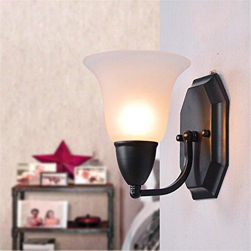 LIYAN minimalistische Wandleuchte Wandleuchte E26/E27 Eisen Wandleuchte Milch weißem Glas Lampenschirme kreativ Schlafzimmer Bett Balkon über der Straße bar Flur Wand leuchten, 150*190*190 mm (Rose-eisen-bett)