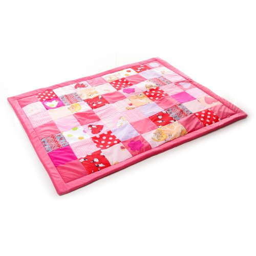 Babydecke Krabbeldecke Patchwork 140x110cm Doppelte Füllung (rosa)