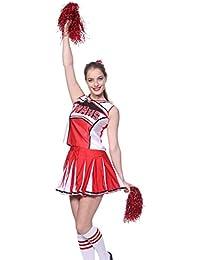 maboobie Tenue Complete Debardeur Jupe a Volant Pom-Pom Girls Cheerleader Rouge av/ 2 Pompons XXL (46-48)