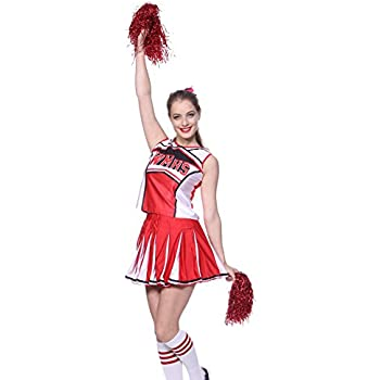 26-28 MABOOBIE Tenue Complete Debardeur Jupe a Volant Pom-Pom Girls Cheerleader Rouge av// 2 Pompons XS