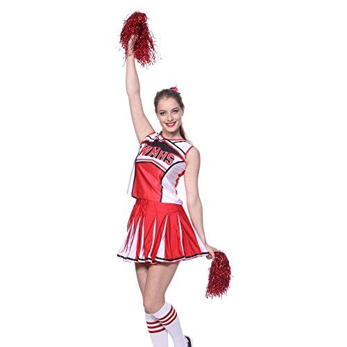 Wettbewerb Kostüm Poms - Petticoat Damen Tennistop Cheerleader Pom Pom Girl Cheer Führer XS (28-30) 2Pieces Kostüm, rot NEU