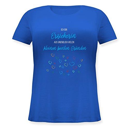 Shirtracer Sonstige Berufe - Erzieherin Aus Vielen Kleinen Gründen - Lockeres Damen-Shirt in Großen Größen mit Rundhalsausschnitt Blau