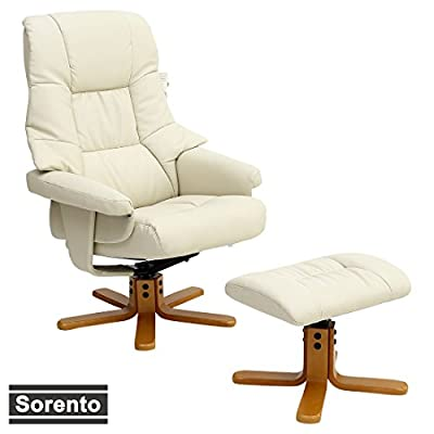 SORENTO LEATHER SWIVEL RECLINER ARMCHAIR CHAIR with FOOT STOOL produced by More4Homes - quick delivery from UK.