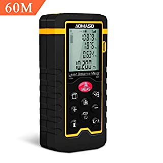 Laser Distance Meter 60m Aomaso Portable Handheld Precision Digital Laser Tape Measure with Bubble Level Backlight up to 196ft Dust Waterproof IP54 for Volume Area Pythagorean Continuous Measurement